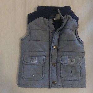 Two toned navy quilted snap vest never worn
